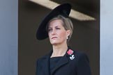 HRH The Countess of Wessex (Sophie)  on the balcony of the Foreign and Commonwealth Office during the Remembrance Sunday Cenotaph Ceremony 2018 at Horse Guards Parade, Westminster, London, 11 November 2018, 11:02.