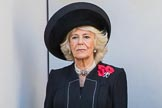 HRH The Duchess of Cornwall (Camilla) on the balcony of the Foreign and Commonwealth Office during the Remembrance Sunday Cenotaph Ceremony 2018 at Horse Guards Parade, Westminster, London, 11 November 2018, 11:02.