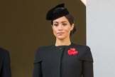 HRH The Duchess of Sussex (Meghan) on the balcony of the Foreign and Commonwealth Office during the Remembrance Sunday Cenotaph Ceremony 2018 at Horse Guards Parade, Westminster, London, 11 November 2018, 11:02.
