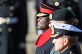 MajorNanaTwumasiiAnkrah, Equerry to HMTheQueen,  during the Remembrance Sunday Cenotaph Ceremony 2018 at Horse Guards Parade, Westminster, London, 11 November 2018, 11:02.