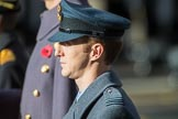 Flight Lieutenant David Rawson, Royal Air Force, Equerry to HRH Prince Michael of Kent during the Remembrance Sunday Cenotaph Ceremony 2018 at Horse Guards Parade, Westminster, London, 11 November 2018, 11:03.