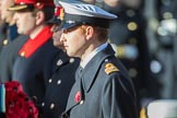 Lieutenant Commander David Brannighan, Royal Navy, Equerry to HRH The Duke of Cambridge, during the Remembrance Sunday Cenotaph Ceremony 2018 at Horse Guards Parade, Westminster, London, 11 November 2018, 11:03.