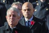 TheRtHonSajidJavidMP(SecretaryofStatefortheHomeDepartment) during Remembrance Sunday Cenotaph Ceremony 2018 at Horse Guards Parade, Westminster, London, 11 November 2018, 11:03.