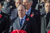 The Rt Hon Nigel Dodds OBE MP (Westminster Democratic Unionist Party Leader) during the Remembrance Sunday Cenotaph Ceremony 2018 at Horse Guards Parade, Westminster, London, 11 November 2018, 11:03.
