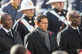 The High Commissioner of Eswatini (the former Swaziland), The High Commissioner of Mauritius, and the The Deputy High Commissioner of Barbados during Remembrance Sunday Cenotaph Ceremony 2018 at Horse Guards Parade, Westminster, London, 11 November 2018, 11:03.