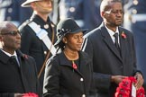 The Deputy High Commissioner of Barbados, The Acting High Commissioner of Lesotho, and the The Acting High Commissioner of Botswana during Remembrance Sunday Cenotaph Ceremony 2018 at Horse Guards Parade, Westminster, London, 11 November 2018, 11:03.