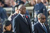 The High Commissioner of Singapore, Ms Foo Chi Hsia, the The Deputy Head of Mission of The Gambia, Mr. Kalifa Bojang, and the The High Commissioner of Zambia, H.E. Muyeba Shichapwa Chikonde, during Remembrance Sunday Cenotaph Ceremony 2018 at Horse Guards Parade, Westminster, London, 11 November 2018, 11:03.