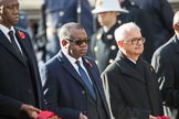 The Deputy Head of Mission of The Gambia, Mr. Kalifa Bojang, the The High Commissioner of Zambia, H.E. Muyeba Shichapwa Chikonde, and the The High Commissioner of Malta, Joseph Cole, during Remembrance Sunday Cenotaph Ceremony 2018 at Horse Guards Parade, Westminster, London, 11 November 2018, 11:04.