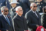 The High Commissioner of Zambia, Muyeba Shichapwa Chikonde, the High Commissioner of Malta, Joesph Cole, and the High Commissioner of Malawi, Kena A. Mphonda, during Remembrance Sunday Cenotaph Ceremony 2018 at Horse Guards Parade, Westminster, London, 11 November 2018, 11:04.
