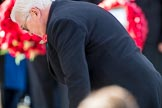 HE The President of the Federal Republic of Germany, Frank-Walter Steinmeier  lays his wreath during the Remembrance Sunday Cenotaph Ceremony 2018 at Horse Guards Parade, Westminster, London, 11 November 2018, 11:04.