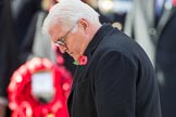HE The President of the Federal Republic of Germany, Frank-Walter Steinmeier  after laying his wreath during the Remembrance Sunday Cenotaph Ceremony 2018 at Horse Guards Parade, Westminster, London, 11 November 2018, 11:04.