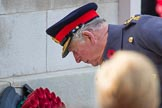 After having laid a wreath on behalf of HM The Queen, HRH The Prince of Wales (Prince Charles) is laying his own wreath during the Remembrance Sunday Cenotaph Ceremony 2018 at Horse Guards Parade, Westminster, London, 11 November 2018, 11:05.