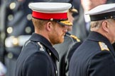 HRH The Duke of Sussex (Prince Harry) after leying a wreath during the Remembrance Sunday Cenotaph Ceremony 2018 at Horse Guards Parade, Westminster, London, 11 November 2018, 11:06.