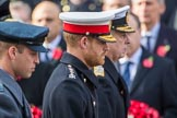 HRH The Duke of Sussex (Prince Harry) in focus between HRH The Duke of Cambridge (Prince William) and HRH The Duke of York (Prince Andrew) during the Remembrance Sunday Cenotaph Ceremony 2018 at Horse Guards Parade, Westminster, London, 11 November 2018, 11:06.