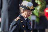 HRH The Princess Royal (Princess Anne) after laying a wreath during the Remembrance Sunday Cenotaph Ceremony 2018 at Horse Guards Parade, Westminster, London, 11 November 2018, 11:07.