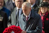 The Rt Hon Jeremy Corbyn MP, (Leader of the Labour Party and Leader of the Opposition)  during the Remembrance Sunday Cenotaph Ceremony 2018 at Horse Guards Parade, Westminster, London, 11 November 2018, 11:08.