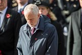 The Rt Hon Jeremy Corbyn MP, (Leader of the Labour Party and Leader of the Opposition), after laying his wreath  during the Remembrance Sunday Cenotaph Ceremony 2018 at Horse Guards Parade, Westminster, London, 11 November 2018, 11:08.