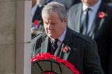 Mr Ian Blackford MP (the Westminster Scottish National Party Leader on the behalf of the SNP/the Plaid Cymru Parliamentary Group)  during the Remembrance Sunday Cenotaph Ceremony 2018 at Horse Guards Parade, Westminster, London, 11 November 2018, 11:09.