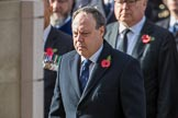 The Rt Hon Nigel Dodds OBE MP (Westminster Democratic Unionist Party Leader) during the Remembrance Sunday Cenotaph Ceremony 2018 at Horse Guards Parade, Westminster, London, 11 November 2018, 11:10.