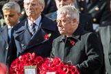 The Rt Hon John Bercow MP, Speaker of the House of Commons (on behalf of Parliament representing members of the House of Commons) during the Remembrance Sunday Cenotaph Ceremony 2018 at Horse Guards Parade, Westminster, London, 11 November 2018, 11:10.