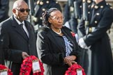 The High Commissioner of Malawi, Mr Kena A. Mphonda, and The Deputy High Commissioner of Kenya, Mrs Grace Cerere, during Remembrance Sunday Cenotaph Ceremony 2018 at Horse Guards Parade, Westminster, London, 11 November 2018, 11:12.