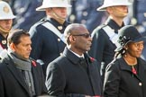 The High Commissioner of Mauritius, the  Deputy High Commissioner of Barbados, and the Acting High Commissioner of Lesotho during Remembrance Sunday Cenotaph Ceremony 2018 at Horse Guards Parade, Westminster, London, 11 November 2018, 11:13.