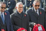 The High Commissioner of Zambia, Muyeba Shichapwa Chikonde, the High Commissioner of Malta, Joseph Cole, and the  High Commissioner of Malawi, Kena A. Mphonda,   during Remembrance Sunday Cenotaph Ceremony 2018 at Horse Guards Parade, Westminster, London, 11 November 2018, 11:13.