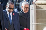 The High Commissioner of Zambia, H.E. Muyeba Shichapwa Chikonde, and the  High Commissioner of Malta, Joseph Cole, during Remembrance Sunday Cenotaph Ceremony 2018 at Horse Guards Parade, Westminster, London, 11 November 2018, 11:13.