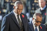 The Deputy Head of Mission of The Gambia, Kalifa Bojang, and the  High Commissioner of Zambia,  Muyeba Shichapwa Chikonde, during Remembrance Sunday Cenotaph Ceremony 2018 at Horse Guards Parade, Westminster, London, 11 November 2018, 11:13.