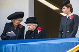 HRH The Duchess of Cornwall (Camilla), Her Majesty The Queen, and HRH The Duchess of Cambridge (Kate) on the balcony of the Foreign and Commonwealth Office during the  Remembrance Sunday Cenotaph Ceremony 2018 at Horse Guards Parade, Westminster, London, 11 November 2018, 11:13.