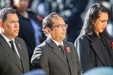 The High Commissioner of The Bahamas, Ellison Edroy Greenslade, the Deputy High Commissioner of Bangladesh, Muhammad Zulqar Nain, and the  High Commissioner of Tonga, Titilupe Fanetupouvava'u Tu'ivakano, during Remembrance Sunday Cenotaph Ceremony 2018 at Horse Guards Parade, Westminster, London, 11 November 2018, 11:14.