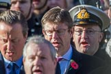 Representatives of the government, former prime ministers, and, behind, the streetliners, here the Royal Navy, singing during the Remembrance Sunday Cenotaph Ceremony 2018 at Horse Guards Parade, Westminster, London, 11 November 2018, 11:19.