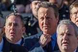 Former prime minister The Rt Hon David Cameron, singing, during Remembrance Sunday Cenotaph Ceremony 2018 at Horse Guards Parade, Westminster, London, 11 November 2018, 11:19.