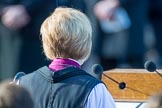 The Right Reverend and Right Honourable Dame Sarah Mullally DBE, the Lord Bishop of London during the service at the Remembrance Sunday Cenotaph Ceremony 2018 at Horse Guards Parade, Westminster, London, 11 November 2018, 11:20.