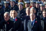 Members of the Service detachment from the Royal Navy singing during the Remembrance Sunday Cenotaph Ceremony 2018 at Horse Guards Parade, Westminster, London, 11 November 2018, 11:22.