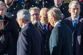 Former prime ministers John Major and Tony Blair returning to the Foreign and Commonwealth Office during Remembrance Sunday Cenotaph Ceremony 2018 at Horse Guards Parade, Westminster, London, 11 November 2018, 11:25.