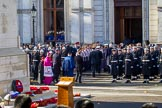 Wreaths around the Cenotaph, and the representatives of the faith communities returning to the Foreign and Commonwealth Office during the Remembrance Sunday Cenotaph Ceremony 2018 at Horse Guards Parade, Westminster, London, 11 November 2018, 11:26.