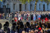 Representatives of The Royal British Legion, London Transport, the Royal Air Forces Association , the Royal Naval Association , the Royal Commonwealth Ex-Services League, the Royal British Legion Scotland, and the Royal British Legion Women's Section waiting to lay their wreaths at the Cenotaph during the Remembrance Sunday Cenotaph Ceremony 2018 at Horse Guards Parade, Westminster, London, 11 November 2018, 11:26.
