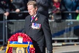 Air Marshal David Walker CB CBE AFC MA RAF (Retired), National President of the Royal British Legion, with the legion's wreath on the way to the Cenotaph during the  Remembrance Sunday Cenotaph Ceremony 2018 at Horse Guards Parade, Westminster, London, 11 November 2018, 11:28.