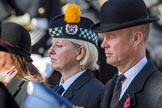 In focus and in the background centre is Margaret Brown, the Royal British Legion Angus and Perthshire Area Secretary, during Remembrance Sunday Cenotaph Ceremony 2018 at Horse Guards Parade, Westminster, London, 11 November 2018, 11:28.