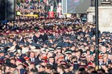 Over 9000 veterans waiting on Whitehall for the start of teh March Past during the Remembrance Sunday Cenotaph Ceremony 2018 at Horse Guards Parade, Westminster, London, 11 November 2018, 11:32.