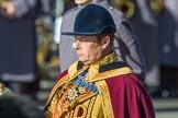 Drum Major Scott Fitzgerald, Coldstream Guards, (Senior Drum Major HQ London District) during Remembrance Sunday Cenotaph Ceremony 2018 at Horse Guards Parade, Westminster, London, 11 November 2018, 11:33.