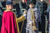Drum Major Liam Rowley, Coldstream Guards during Remembrance Sunday Cenotaph Ceremony 2018 at Horse Guards Parade, Westminster, London, 11 November 2018, 11:33.
