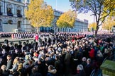 The eastern side of Whitehall, where over 9000 veterans are waiting for the March Past during the Remembrance Sunday Cenotaph Ceremony 2018 at Horse Guards Parade, Westminster, London, 11 November 2018, 11:37.