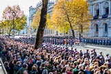 The western side of Whitehall before the Remembrance Sunday Cenotaph March Past 2018 at Horse Guards Parade, Westminster, London, 11 November 2018, 11:37.