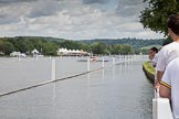 Henley Royal Regatta 2012 (Monday): The view up the race course, with the start near Temple Island, close to the folly on the right of the image.. River Thames beteen Henley-on-Thames and Remenham/Temple Island , Henley-on-Thames, Oxfordshire, United Kingdom, on 25 June 2012 at 11:09, image #3