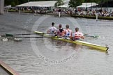 Henley Royal Regatta 2012 (Thursday): Race 18, Visitor's Challenge Cup:  Ruderverein Wiking Linz und Wiener Ruderclub LIA, Austria. (208, Bucks) v London Rowing Club  (199, Berks). River Thames beteen Henley-on-Thames and Remenham/Temple Island , Henley-on-Thames, Oxfordshire, United Kingdom, on 28 June 2012 at 10:46, image #123
