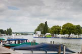 Henley Royal Regatta 2013 (Monday): The HRR race track seen from the eastern (Oxfordshire) side of the River Thames.. River Thames between Henley and Temple Island, Henley-on-Thames, Berkshire, United Kingdom, on 01 July 2013 at 14:12, image #5