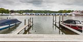 Henley Royal Regatta 2013 (Monday): The HRR boat tents seen from the eastern side of the River Thames.. River Thames between Henley and Temple Island, Henley-on-Thames, Berkshire, United Kingdom, on 01 July 2013 at 14:12, image #6