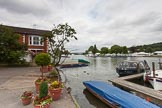Henley Royal Regatta 2013 (Monday): The HRR race track seen from the eastern (Oxfordshire) side of the River Thames.. River Thames between Henley and Temple Island, Henley-on-Thames, Berkshire, United Kingdom, on 01 July 2013 at 14:14, image #10